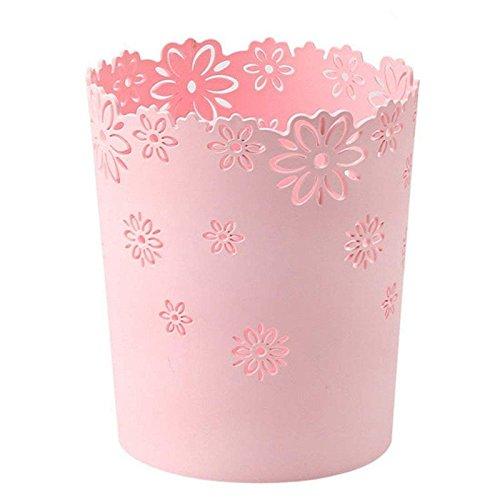 Waste Paper Baskets, XSHION Trash Can Garbage Bin Plastic without Lid for Bedroom /Kitchen /Bathroom /Office /Desktop (Pink 1 Pack)