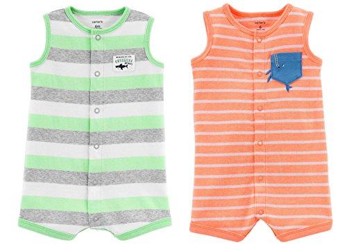 (Carter's Baby Boy's 2 Pack Cotton Romper Creeper Set (Newborn, Sleeveless Green Stripe Shark and Orange Stripe Whale Pocket) )