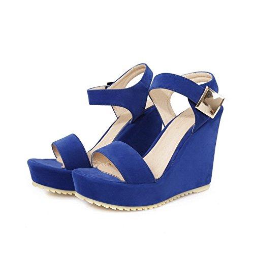 AllhqFashion Mujeres Puntera Abierta Velcro Cuero Sólido Plataforma Sandalia Azul