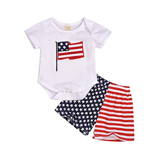 (Zlolia Toddler Boys&Girls USA Print Print 2 Piece Short Set with Stretch Shorts Babes July 4Th Patriotic Romper Blue)