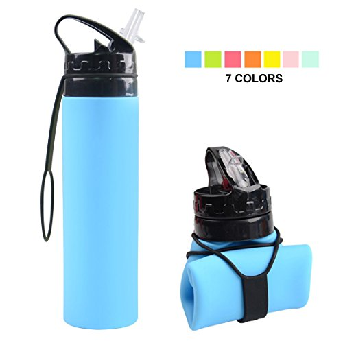 Fengyuan Collapsible Water Bottle, YUANFENG 20oz BPA-Free Leak-Proof Lightweight Silicone Sports Travel Camping Water Bottles (Sky Blue)