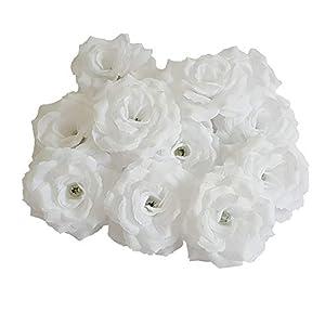 Eternal Blossom Silk Rose Flower Head, 20PCS for Hat Clothes Album Decoration, Wedding Decoration (White) 118
