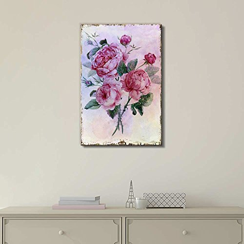 Bouquet of Pink Watercolor Roses on a Delicate Watercolor Background Nature