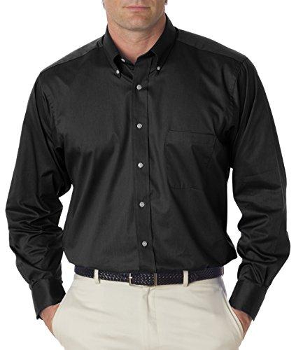 Van Heusen mens Long-Sleeve Dress Twill(13V521)-BLACK-L ()
