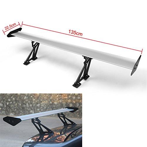 Artudatech 53.1 Inch GT Rear Wing Spoiler - Adjustable Angel Single-Deck - Sedan Aluminum Rear Spoiler - Silver