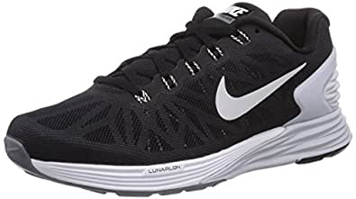 nike womens lunarglide 6 running trainers 654434 sneakers shoes (uk 2.5 us 5 eu 35.5, black white pure platinum cool grey 001)