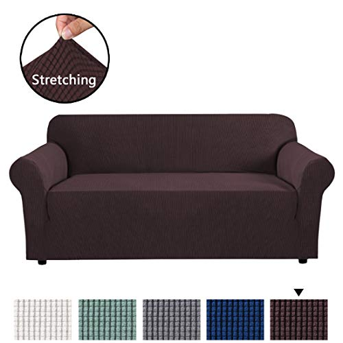 One Cushion - H.VERSAILTEX Stretch Sofa Covers 1 Piece Furniture Protector Couch Cover Feature Rich Textured Lycra High Spandex Small Checks Jacquard Fabric Sofa Cover Lounge Cover for 3 Seater (Sofa: Chocolate)