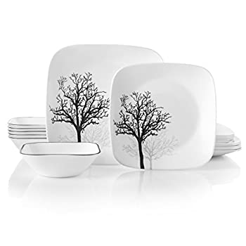 Image of Corelle 18-Piece Service for 6, Chip Resistant, Timber Shadows Dinnerware Set Home and Kitchen