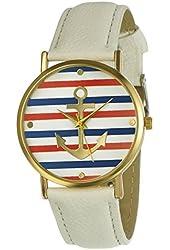 Women's Geneva Multi Color Striped Anchor Leather Watch - White