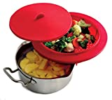 Sunnyfly 206 Top Of The Pot Silicone Steamer With Lid, Cook Below And Steam Above