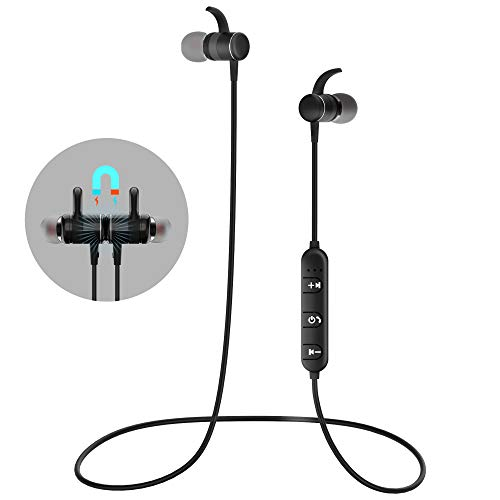 Bluetooth Earphones Magnetic in-Ear Headphones HiFi Aptx Stereo Wireless Earbuds Sport Headset Earbud Headphones for Running W/Tangle Free Noise Isolating Bass Driven Sound for Smartphones/PC/Tablet