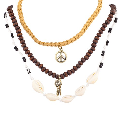 Necklace Sign Peace Heart (Lux Accessories Mini Dreamcatcher Bead Peace Sign Shell Woven BFF Choker Necklace Set)