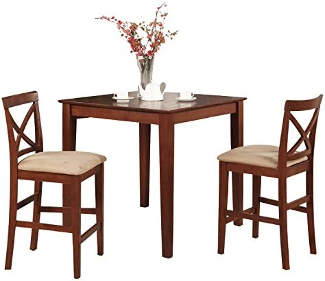 PUBS3-BRN-C 3 Pc counter height Dining set-pub Table and 2 Stools