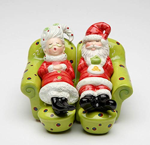 Fine Ceramic Mr. and Mrs. Santa Claus Chilling Out Resting on Sofa Salt & Pepper Shakers Set, 3-5/8
