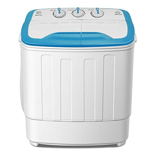 4-EVER Mini Washing Machine, Portable Twin Tub Washer and Spin Dryer Combo,13lbs for Dorms,Apartments, RV's, College Rooms,Camping Spinner Dryer