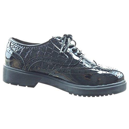 Sopily - Scarpe da Moda Scarpe brogue alla caviglia donna perforato pelle di serpente verniciato Tacco a blocco 3.5 CM - Nero