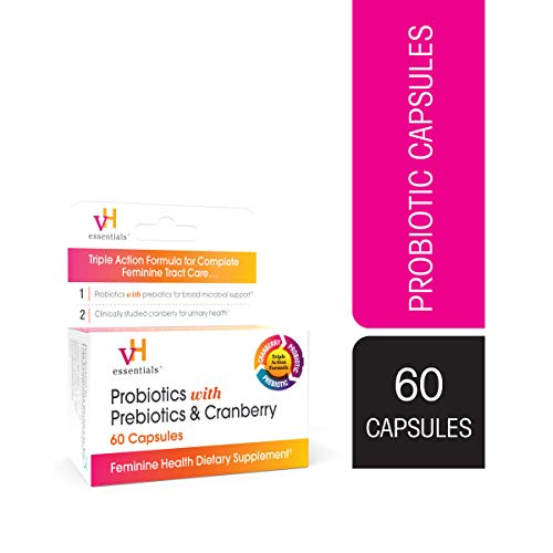 vH essentials Probiotics with Prebiotics and Cranberry Feminine Health Supplement – 60 Capsules