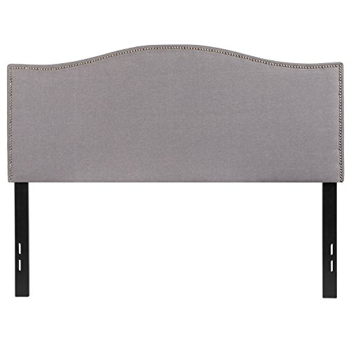 Flash Furniture Lexington Upholstered Full Size Headboard with Decorative Nail Trim in Light Gray Fabric (Brass Full Size Footboard)