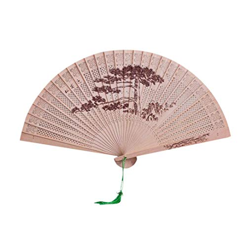 (LiPing Chinese Traditional Hollow Fan Wooden Hand Made Exquisite Folding Decor Collection For Gift/Home Decoration/Office Decor (E))