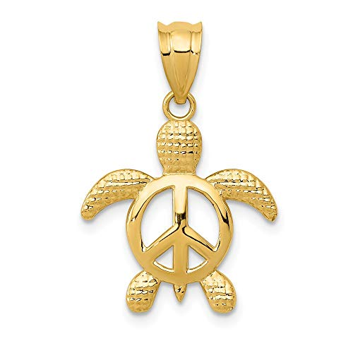 (Jewel Tie 14K Yellow Gold Peace Turtle Pendant - (0.67 in x 0.63 in))