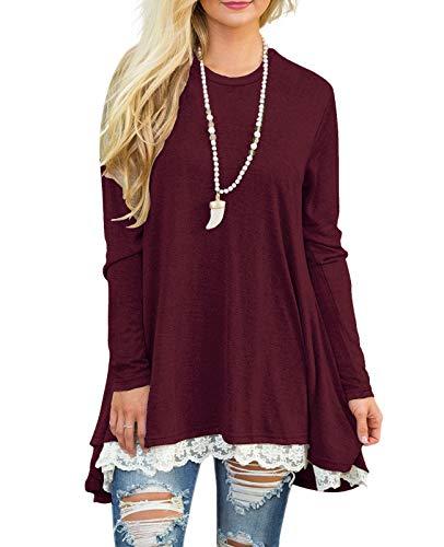Sanifer Women Lace Long Sleeve Tunic Top Blouse