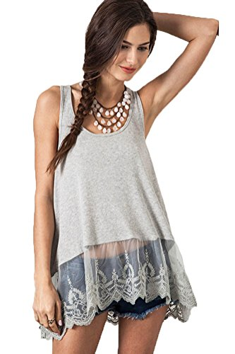 Top Ribbed Tank Lace (Umgee Women's Lace Bottom Ribbed Tank Top (M, Heather Grey))