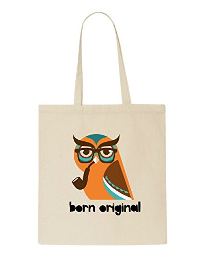 Tote Hipster Original Animal Shopper Character Owl Bag Vintage Beige Born Quote Style 615Ax8Bwq
