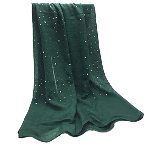 Urban Lipi New plain solid fringed cotton pearls studs nice beads women scarf foulard Muslim hijabs wraps (#4 Green)