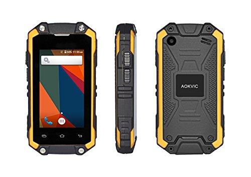 Aokvic ® J5 Mini Smartphone 2.4 Zoll IP67 Wasserdicht Staubdicht Stoßfest Ohne Vertrag Smartphone Android 5.1 RAM 1 ROM 8G 3G GSM Dual Sim Outdoor Entsperrt Handy (Gelb)