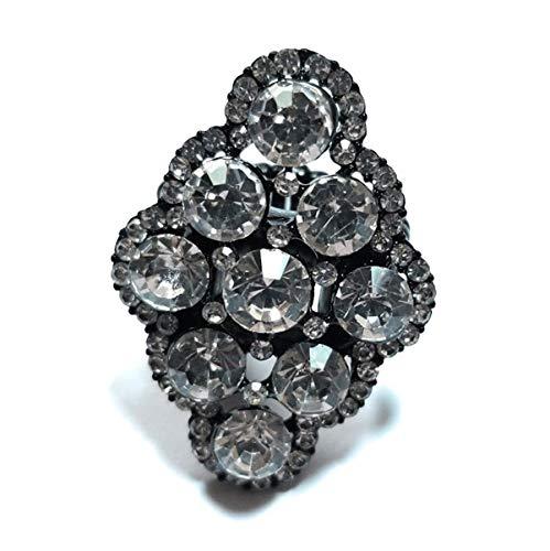 (Teri's Boutique Luxury Round Big Crystal Rhinestone Stone Sparkle Trendy Fashion Party Women Stretch Rings (Black))