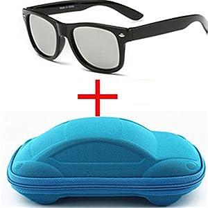 nboba Children UV400 Sunglasses kids Children Cool Sun Glasses 100%UV Protection Eyeglasses Sunglasses For Travel Boy Girl With Case silver and blue case