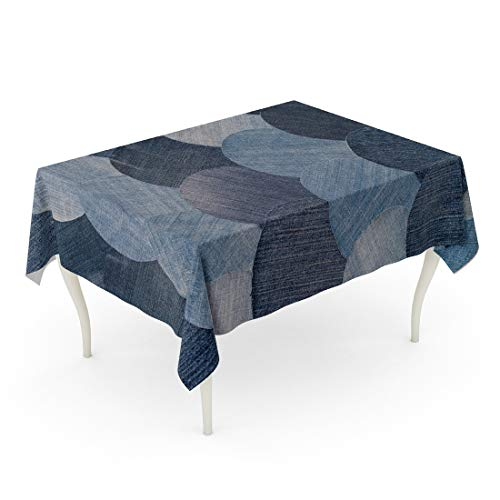 Tarolo Rectangle Tablecloth 52 x 70 Inch Blue Abstraction Jeans Patchwork Pattern Denim Details Homemade Old Patch Vintage Table Cloth