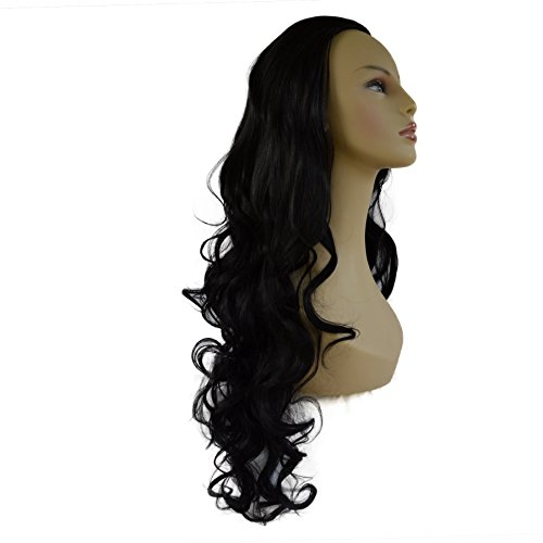 "22"" Ladies 3/4 WIG Half Fall Clip In Hair Extension CURLY Jet Black #1"