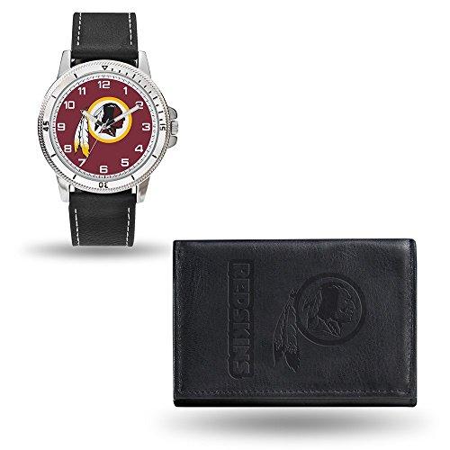 Roy Rose Gifts NFL Washington Redskins Black Leather Watch & Wallet -