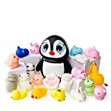 Mochi Squishy Toys - 20 Squishies Pack and 1 Jumbo Squishies Slow Rising Penguin Squishy - Mochi Squishy Cat, Panda Squishy, Mochi Animals – Kawaii Squishies Jumbo - Key Chain Strap Squishys