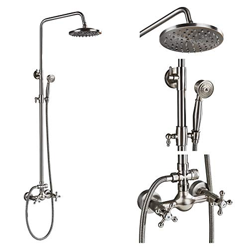 Rozin Bathroom 2 Cross Knobs Mixer Shower Combo Set 8-inch Rainfall Shower Head with Handheld Spray Brushed Nickel