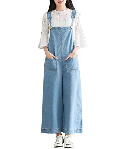 Jumpsuit Salopette Lache Denim Large Jeans Jambe Femme Cheville Bleu1 Bavoir Kasen Pantalon xR1wqY5Bz