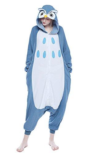 NEWCOSPLAY Unisex Adult Animal Pajamas Halloween Costume (M, Owl)