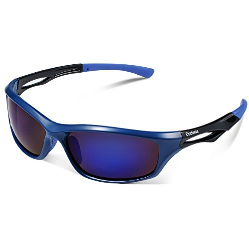 Duduma Polarized Sports Sunglasses for Running Cycling Fishing Golf Tr90 Unbreakable Frame (Blue/Blue)