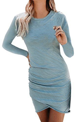 Slim Femmes Robe Hanche Rond Bleu De Gala Robes Soirée Col Irregulier Court Cocktail Party Et Longues Automne Freestyle Package Printemps Manches Fashion 6nzY7qtpw