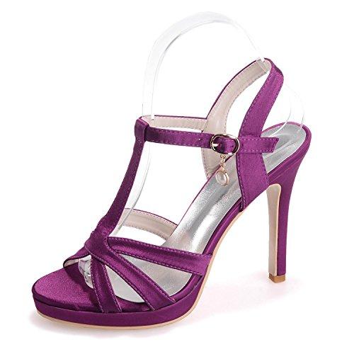 L@YC 5915-18 Sandalias De Boda Para Mujer / Hebillas De Noche Tacones Finos De Oficina Y Carrera Purple