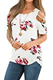 iGENJUN Women Short Sleeve Strappy Cold Shoulder T-Shirt Tops Blouses,M,DG7
