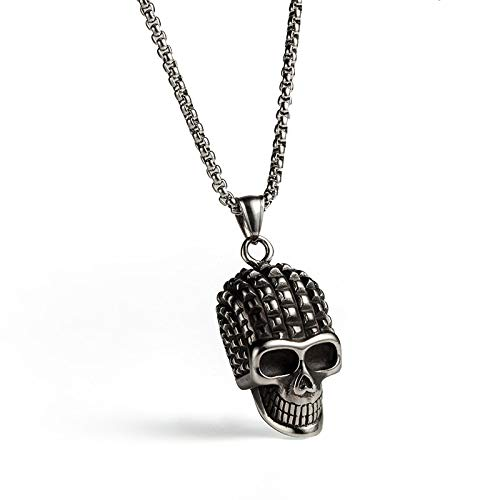 Davitu Gothic top Punk Skeleton Skull Head Pendant Women Mens Necklace Choker Stainless Steel Charm Jewelry Metal Color: Antique Silver Plated, Length: 60cm