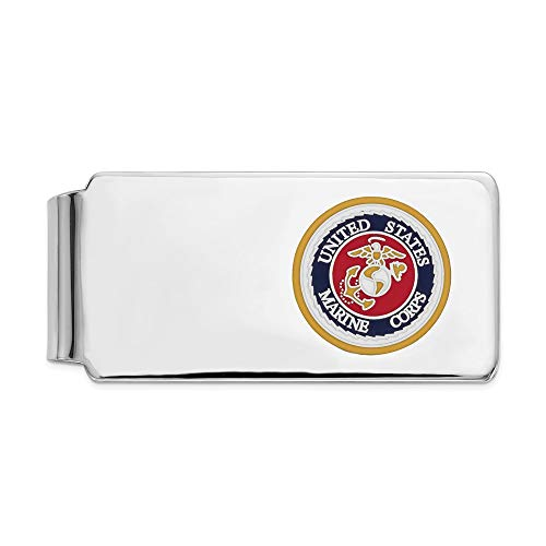 Jewels By Lux 925 Sterling Silver Rhodium U.S. Marine Corp Money Clip Gold Border