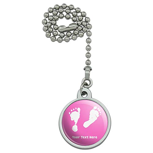 GRAPHICS & MORE Personalized Custom 1 Line Baby Feet on Pink Shower Ceiling Fan and Light Pull Chain