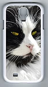 Doubtful Cat Hard Cover Back Case For Samsung Galaxy S4,PC White Case for Samsung Galaxy S4 i9500 hjbrhga1544
