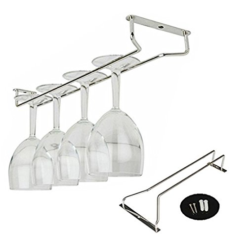 Windspeed Wall Mounted Stemware Holder,Stainless Steel Wine Champagne Goblet Glass Rack Hanger,Home Cup Glass Stemware Holder Shelf Silver 27cm (Small Champagne Glasses)