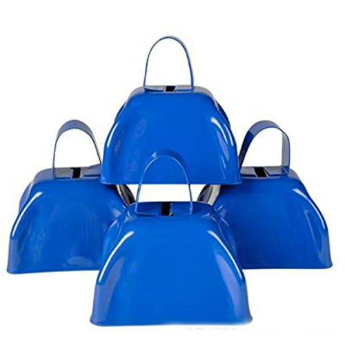 Metal Cowbell Noisemakers - School Cowbells Set 12 Pack - Play Kreative (Blue) -