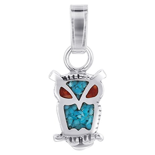 (Gem Avenue 925 Sterling Silver Owl Turquoise and Coral Inlay Pendant with Southwestern Style)