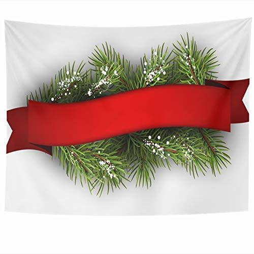 Ahawoso Tapestry 80 x 60 Inches Calendar Red Christmas Festive Fir Branch Ribbon Merry Green Xmas Light Happy Design Congratulation Wall Hanging Home Decor Tapestries for Living Room Bedroom Dorm ()